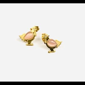 Hen Stud Earrings Gold Stainless Steel